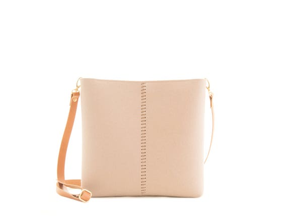 Small crossbody bag / wool felt bag / felt crossbody bag / small womens bag / beige bag / made in Italy