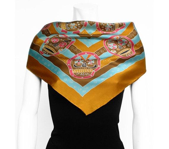 Day of the dead , Dia de Los Muertos skull hand painted silk scarf