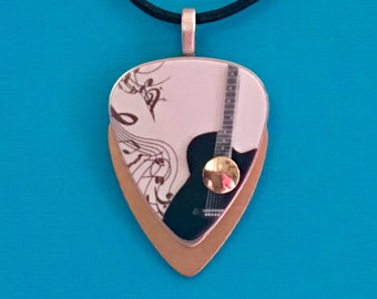 """Guitar Pick Necklace """"This Old Guitar"""""""