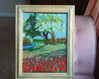 Vintage Tapestry of a Field River Poppies Red Landscape