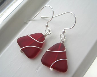 Red Sea Glass Earrings - Wire Wrapped Earrings - Cultured Sea Glass - Fall Jewelry - Triangle Earrings - Frosted Glass - Red Jewelry