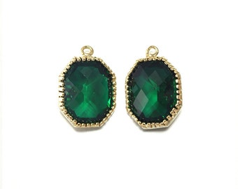 Emerald Glass Pendant . Jewelry Craft Supplies . 16K Polished Gold Plated over Brass  / 2 Pcs - CG006-PG-EM