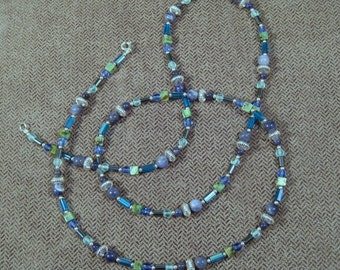 Sterling Silver Atlantic Ocean Colors Opera Length Necklace