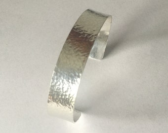"Sterling Silver Hammered Cuff Bracelet- 1/2"" wide"