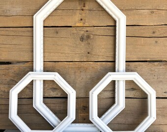 Set of 3 White Octagon Frames with GLASS Modern Upcycled Frame set... bedroom entry kitchen bedroom Modern gallery wall