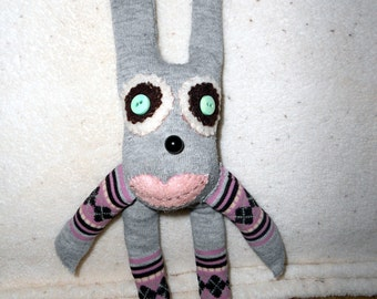 Sock doll -bunny rabbit, recycled, upcycled, softie, grey, argyle - sock monkey