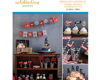 Celebration Shoppe Banner and Pirate Themed Party Accessory Kit - Coordinating 67 pieces Children's Boys Girls