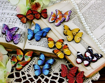 20Pcs Mini Handmade Colorful Butterfly Charms / Pendants (CWE02)