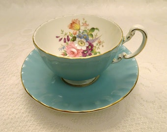 Aynsley Turquoise Floral English Fine Bone China Teacup and Saucer with Gold Trim
