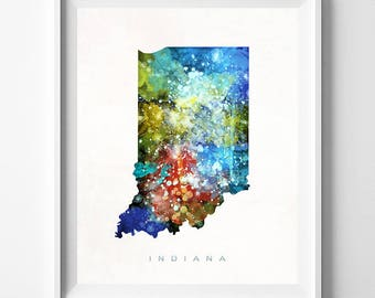 Indiana Map Print, Indianapolis Print, Indiana Poster, Map Art, Watercolor Map Decor, State Art, Home Decor, Map Print, Mothers Day Gift