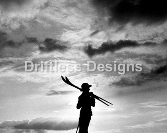Vintage Photo Skiier Silhouette