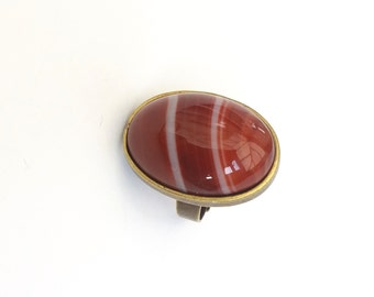 Banded Agate Ring in Bronze, Amber Banded Agate Cabochon, Tan Brown Gemstone Ring, Adjustable Ring, Bold Statement Ring