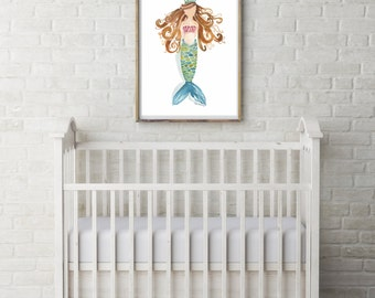 Crowned Mermaid Watercolor PRINT