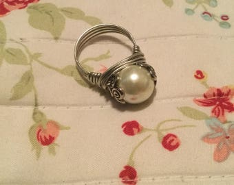 Medium Pearl Wire Wrapped Ring Size 9