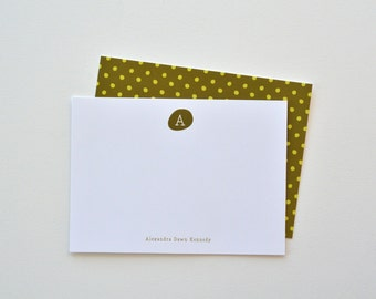 Olive Polkadots // Personalized Stationery // Set of 12