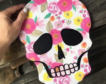 "Pink floral sugar skull head wood magnet 2"""