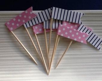 Pink and Navy / polka dot / stripe / cupcake toppers / food picks / set of 24