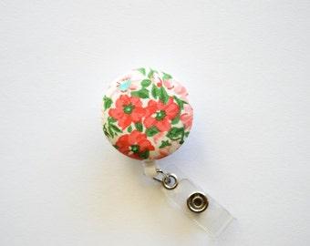 Pink Floral Badge Reel