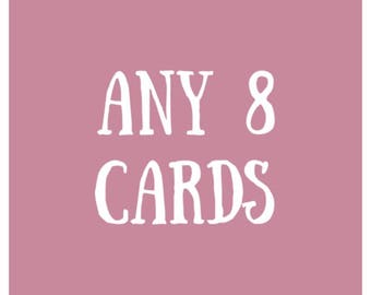 Bundle of 8 // greeting cards, funny card, punny, pun, pun card, bundle, cute cards, 8 cards kenziecards, kenzie cards, card pack, variety