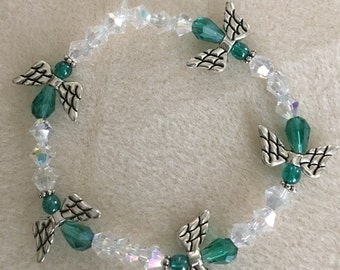 SALE ****Stretch Preciosa Crystal Bracelet with Teal Pewter Angels with Matching Angel Earrings.