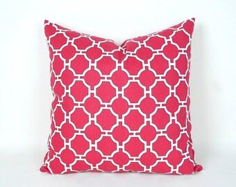 Pink Pillow Cover, Quatrefoil Pillow, Throw Pillow, Decorative Pillows, Cushion Cover, Lattice  Pillow Covers, Zipper, 16x 16, 18x18