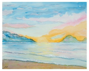 """Watercolor prints """"Ocean Sunset"""" 8X10 matted in a blue 11 X 14 mat  OR 16X20 un-matted"""