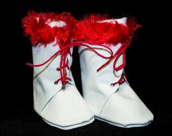 White Lace Up Boots, High-Top Boots; Coordinating w Doll Outfits fit like American Girl Doll Shoes! Choice of Red, Black or White Fur
