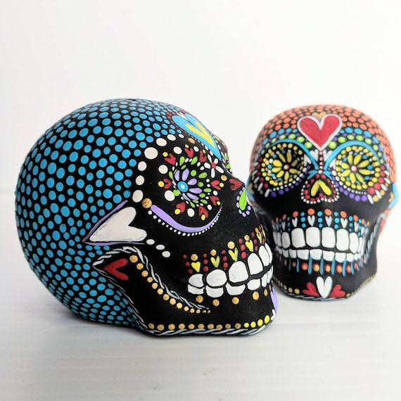 Skulls hand painted salt and pepper shaker set ceramic skulls sugar skull