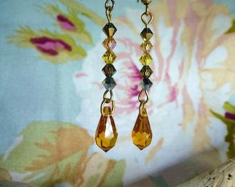 "Safari""Stud Earrings in Crystal beads Swarovski crystals and Swarovski Crystal drop."