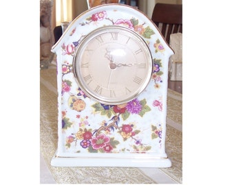 Vintage Mantel Clock, Porcelain Mantel Clock