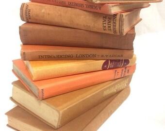 14 Vintage Orange Old Hardback Books Shabby Chic Wine Pub Weddings Props