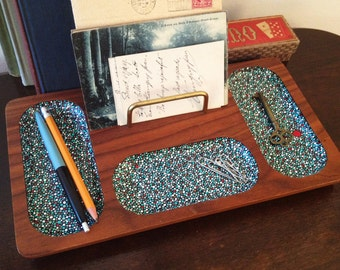 Desk Organizer : Hand-painted Blue w/Red Accent Dots