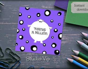 Thanks A Million Thank You Card,  Monster Thank You Card, Instant Download