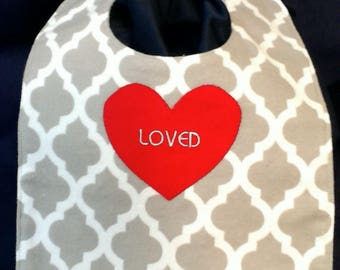 Loved heart bib, reversible