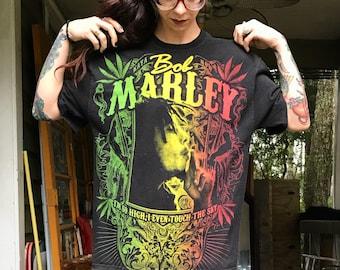 Vintage 90's Bob Marley Zion Shirt size L XL oversized