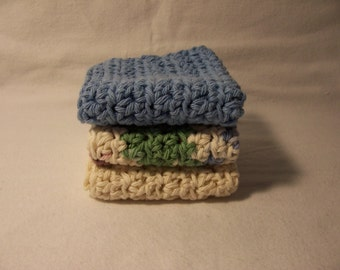 "Set of 3 Handmade Crochet Dish,Bath,Wash Cloths,Linens,Bath and Beauty- 7""x7"" 100% Cotton,Ready To Ship"