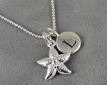 Silver Starfish Initial Necklace - Nautical Theme - Beach Jewelry - Summer Jewelry - Personalized - Bridal Jewelry