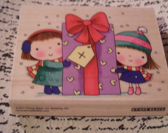 Betsy & Mimi Wrap Christmas Penny Black wood mounted Rubber Stamp