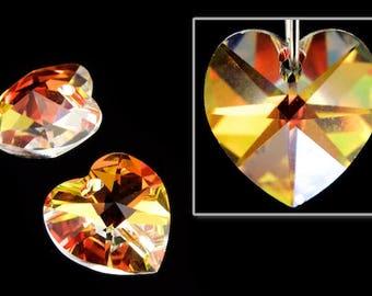 18mm x 17.5mm Swarovski 6202 Crystal AB Heart Drop