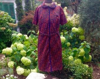 1970s Dress / Vintage MOD Print Dress / Vintage Dress Large / Vintage Dress
