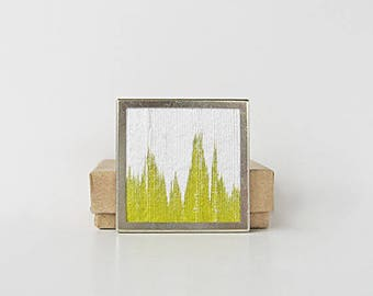 Chartreuse brooch, hand dyed silk pin, square brooch, modern jewelry design, acid green and white brooch