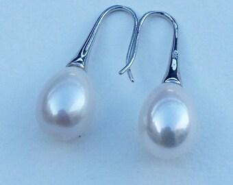 Ivory Pearl Drop Earrings, Pearl Drops, Pearl Drop Earrings on Silver  Ear Hooks