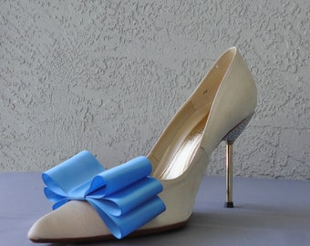 Ocean Blue Satin Ribbon Bow Shoe Clips Set Of Two, More Colors Available