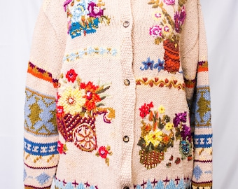 Cotton Blend Cardigan Sweater with  Embroidered Garden Motif.