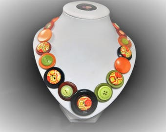 Button necklace - Autumn Tones. Gift for her, boho necklace, statement necklace, unique gift, buttons, handmade jewelry, Mothers Day, OOAK