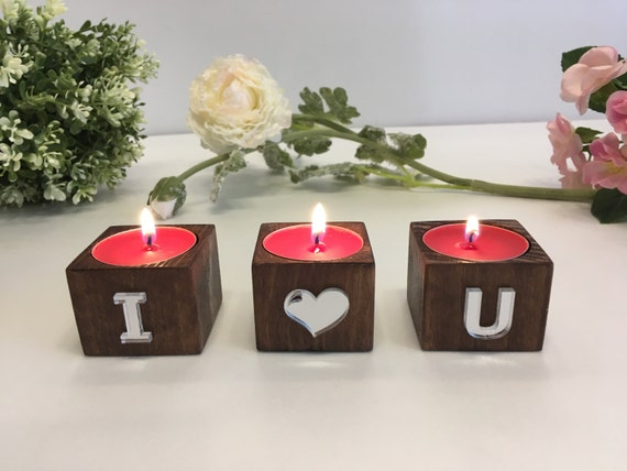 Wood candle holders Tea light candle holders Rustic decorative candle holders Romantic gift Personalized candle holders I love you wood sign