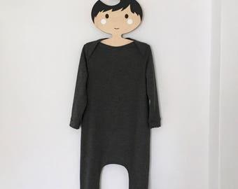 kids harem romper / jumpsuit / long sleeve overalls /black or grey toddler harem romper / baby jersey harem jumpsuit- skinny leg fit