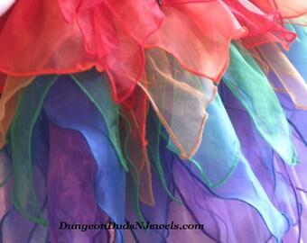 DDNJ Rainbow Short Fairy Skirt Plus Custom Made ANY Size Renaissance Pirate Gypsy Witch LARP Pixie Lolita Cosplay Costume Halloween