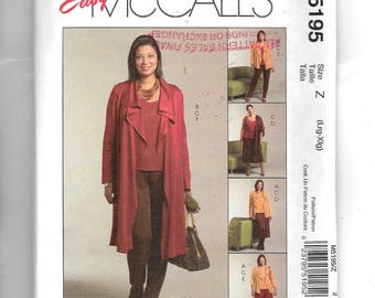 McCall's Misses' /Women's Unlined Jacket In  Two Lengths, Top, Skirt, Gaucho and Pants Pattern 5195