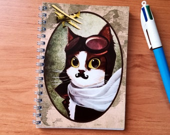 Notebook Michel cat Aviator - cover illustrated, handmade